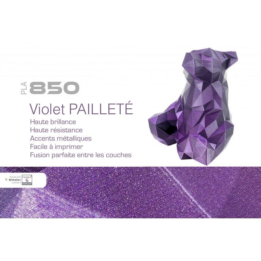Filament PLA 3D850 violet pailleté exemple